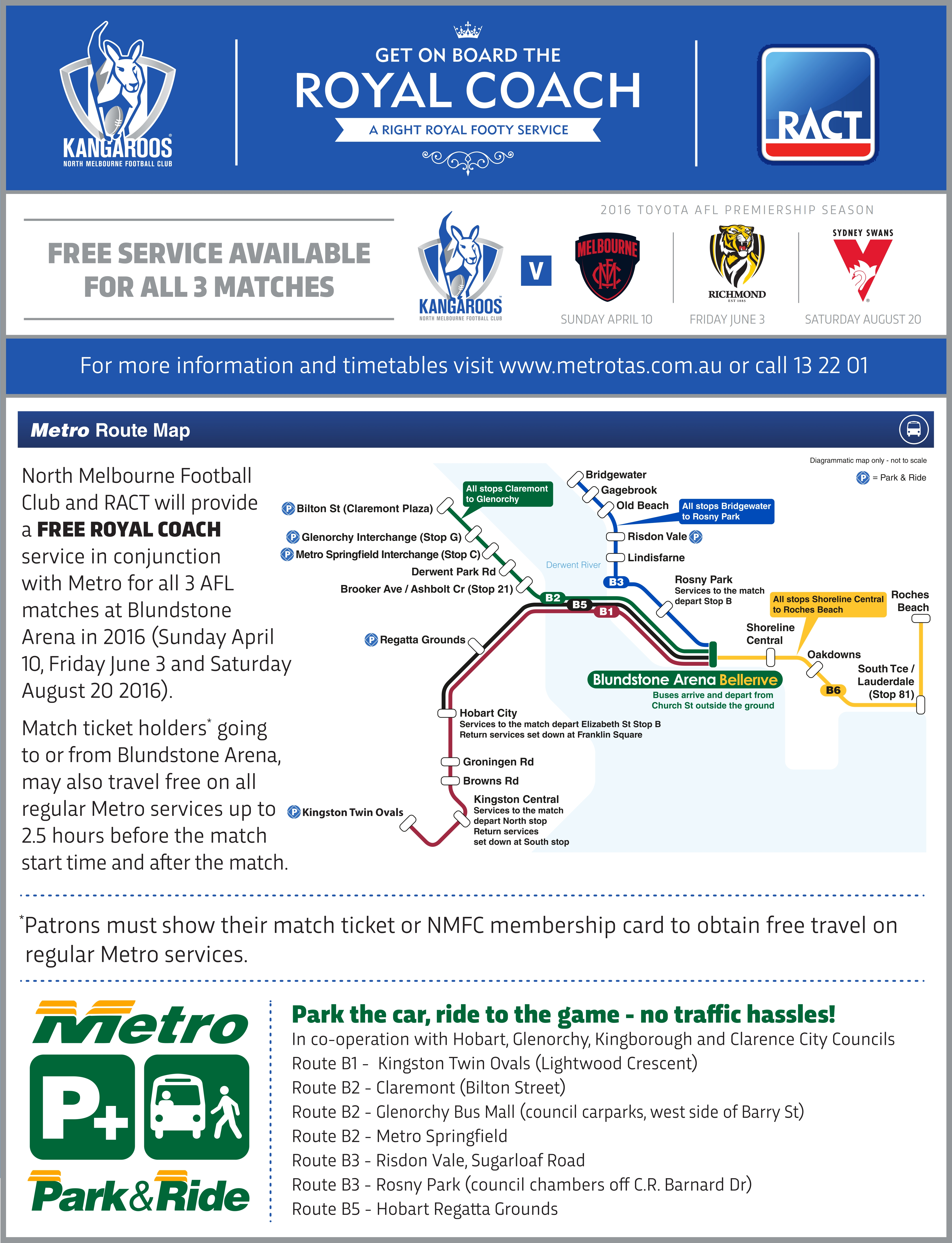 Free bus for North Melbourne v Richmond AFL game - Metro
